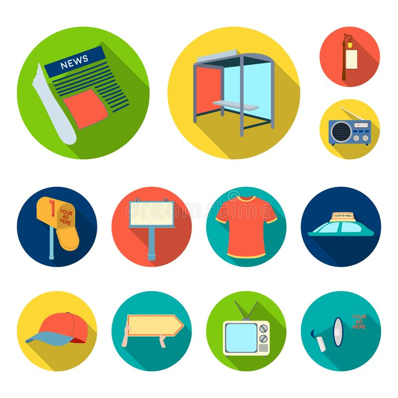 Produção de anunciar ícones lisos na coleção do grupo para o projeto Web do estoque do símbolo do vetor do equipamento da propaga ilustração stock