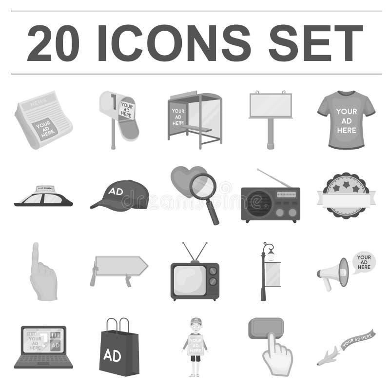 Produção de anunciar ícones monocromáticos na coleção do grupo para o projeto Web do estoque do símbolo do vetor do equipamento d ilustração stock