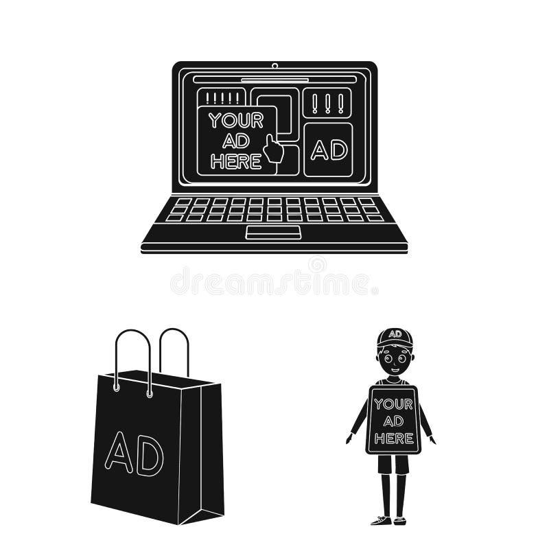 Produção de anunciar ícones pretos na coleção do grupo para o projeto Web do estoque do símbolo do vetor do equipamento da propag ilustração stock