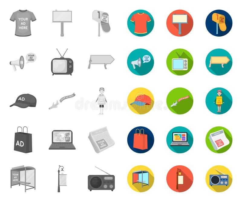 Produção de anunciar mono, ícones lisos em coleção ajustada para o projeto Web do estoque do s?mbolo do vetor do equipamento da p ilustração royalty free