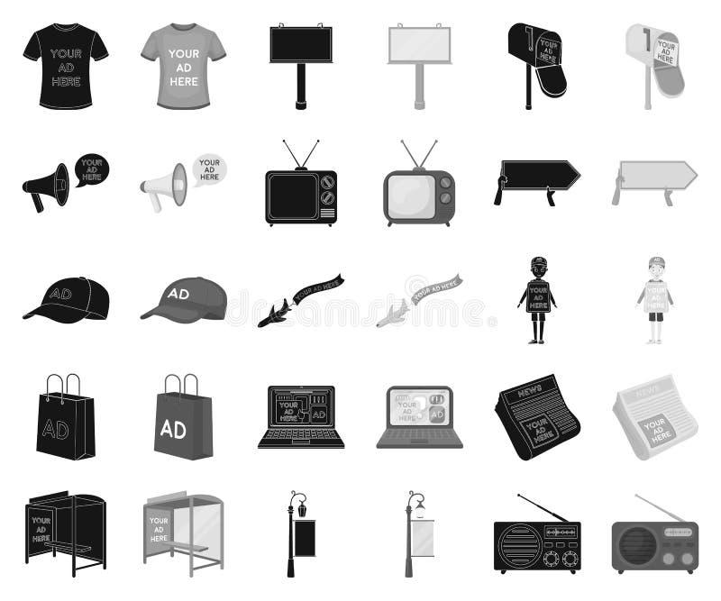 Produção de anunciar o preto, ícones monocromáticos em coleção ajustada para o projeto r ilustração do vetor