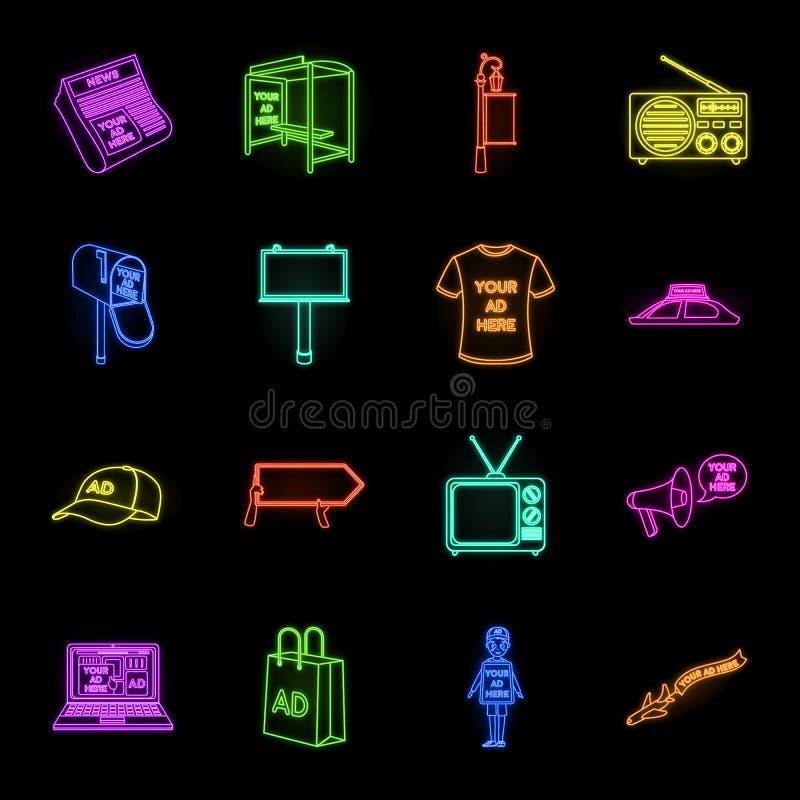 Produção de anunciar os ícones de néon em coleção ajustada para o projeto Web do estoque do símbolo do vetor do equipamento da pr ilustração royalty free