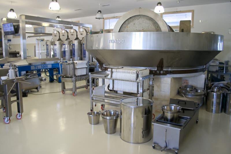 Produção de azeite virgem extra moderna fotografia de stock royalty free