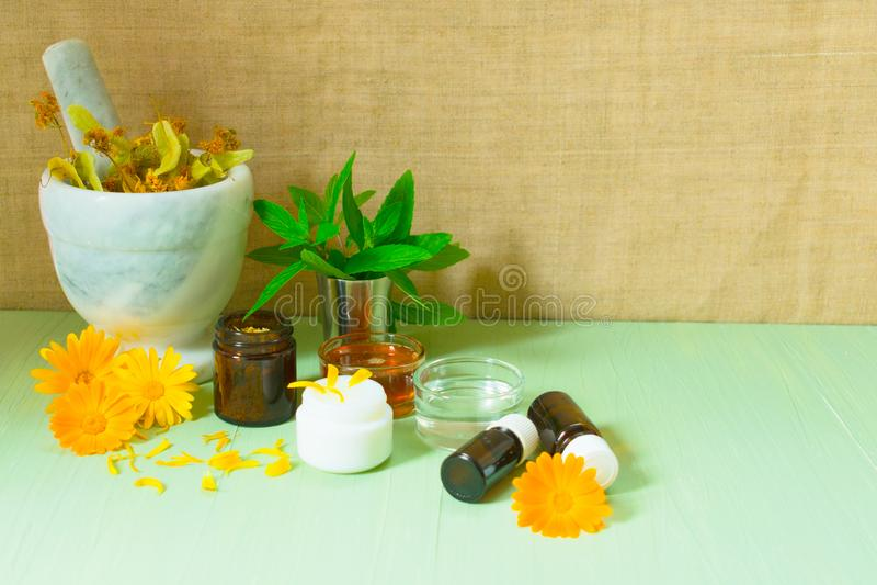 Produção de cosméticos naturais Flores medicinais do calendula, da camomila, da hortelã e da tintura erval Ervas medicinais Cos o fotos de stock royalty free