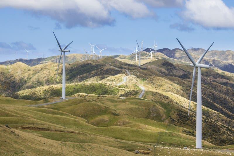 Produção de eletricidade da turbina da exploração agrícola de vento fotografia de stock
