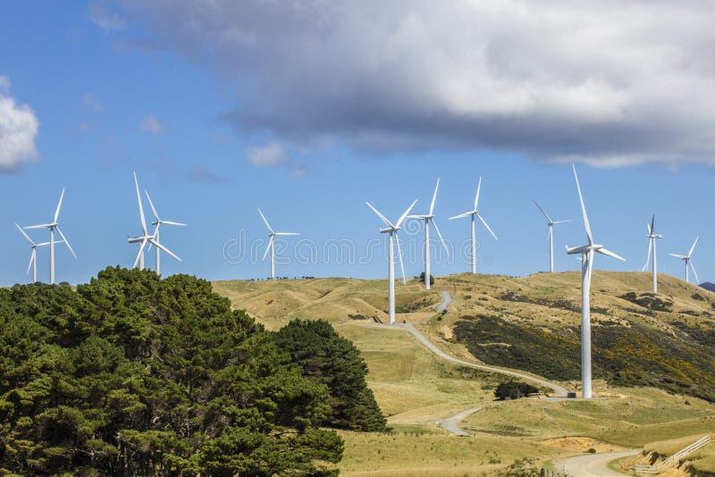 Produção de eletricidade da turbina da exploração agrícola de vento fotografia de stock royalty free