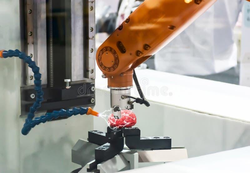Produção do conceito da tecnologia de cérebro mecânico dos robôs fotos de stock royalty free
