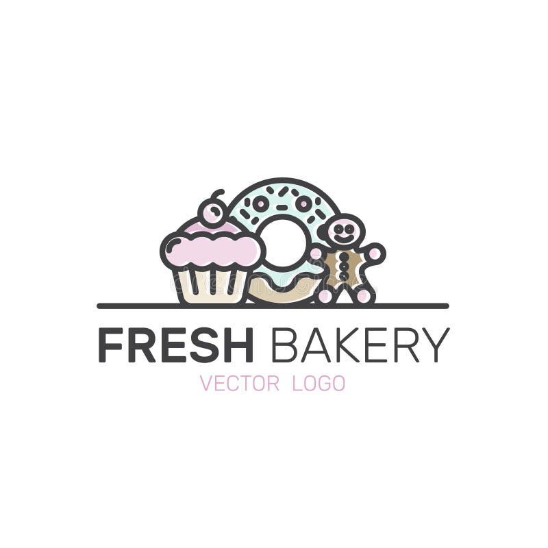 Produção doce da loja da padaria, bolos do costume, fábrica do pão, pretzel e trigo, filhós, cookie, queque, Gingerman, Minimali  ilustração stock