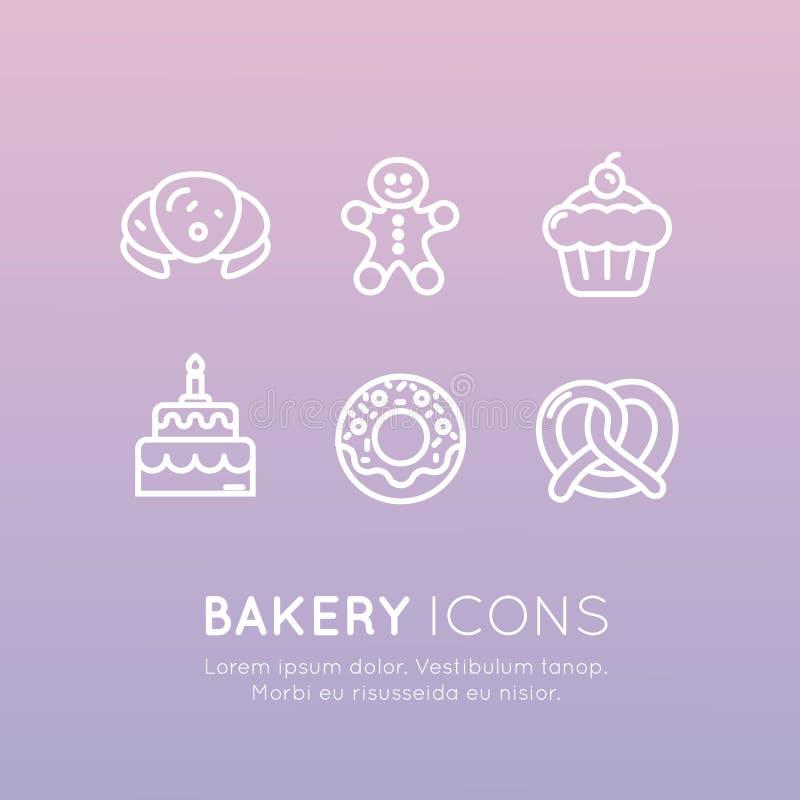 Produção doce da loja da padaria, bolos feitos sob encomenda, fábrica do pão, pretzel e waffle, filhós, cookie ilustração royalty free