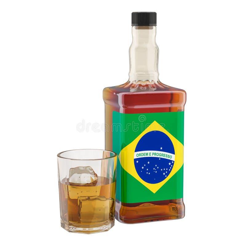Produção e consumo de bebidas em Brasil, conceito do álcool rendi??o 3d ilustração do vetor