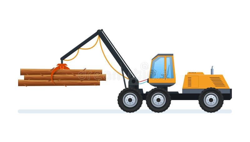 Produção e silvicultura de madeira Carregando e transportando bens ilustração do vetor