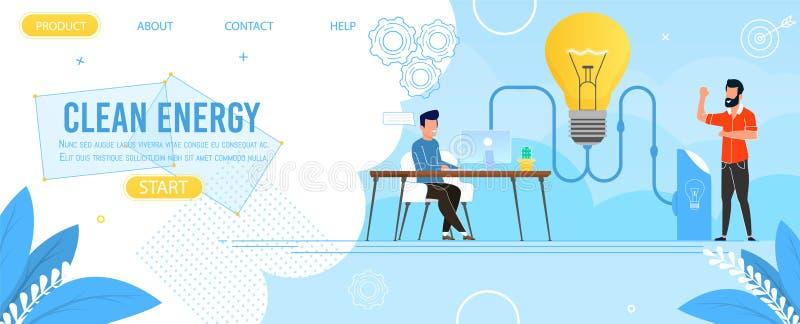 Produção energética limpa de aterrissagem da propaganda da página ilustração stock