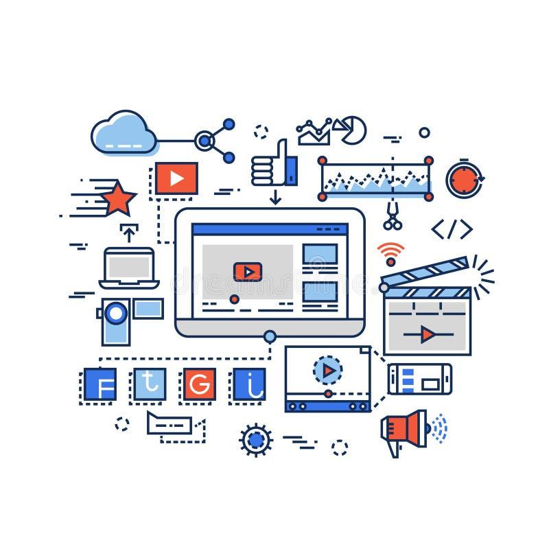 Produção video, mercado digital dos meios, grampo e cinematografia, conceito do vetor do youtuber com linha lisa ícones ilustração do vetor