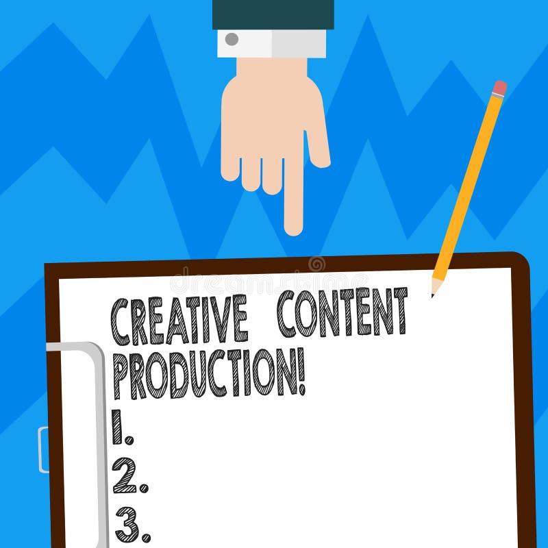 Producción contenta creativa del texto de la escritura de la palabra Concepto del negocio para desarrollar y crear los activos vi libre illustration