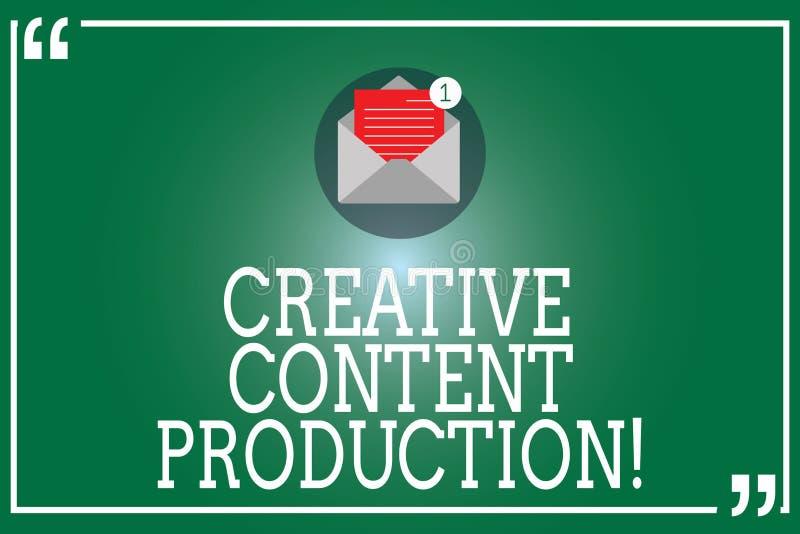 Producción contenta creativa del texto de la escritura Significado del concepto que desarrolla y que crea el sobre abierto visual stock de ilustración