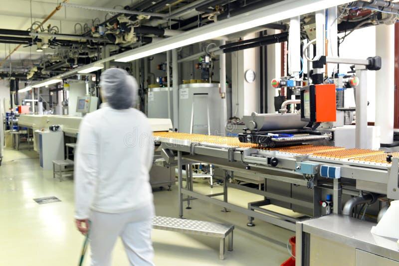 Producción de almendras garapiñadas en una fábrica para la industria alimentaria - conv imágenes de archivo libres de regalías