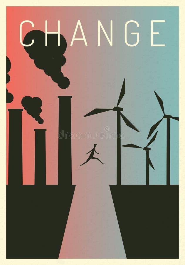 Producción de la producción eléctrica de la contaminación del ejemplo del vector Carbón termal fósil de la contaminación y centra libre illustration