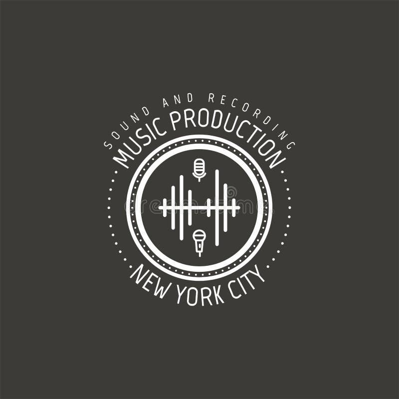 Producción de la música Etiqueta del vector de New York City, insignia, logotipo del emblema con el instrumento musical Ilustraci ilustración del vector
