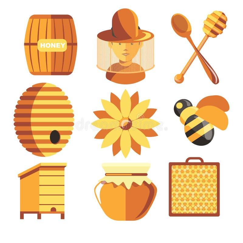 Producción de la miel de la apicultura del apicultor y del colmenar de la granja de la apicultura libre illustration