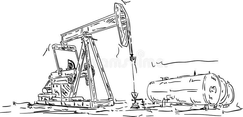 Producción del petróleo crudo ilustración del vector