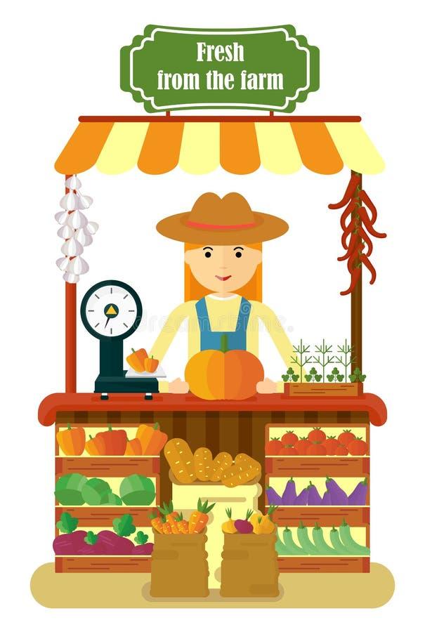 Producción local de las verduras de la venta por agricultores de las mujeres del mercado ilustración del vector