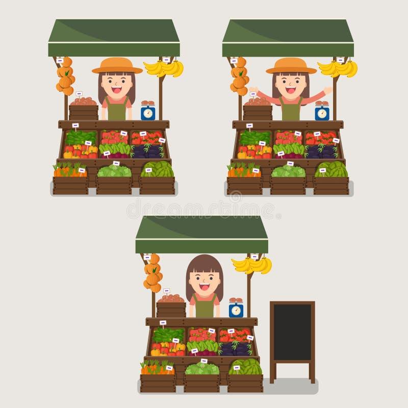 Producción local de las verduras de la venta por agricultores del mercado stock de ilustración
