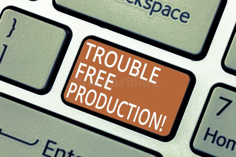 Producción sin problemas del texto de la escritura Significado del concepto sin problemas o dificultades en el teclado de la prod foto de archivo libre de regalías