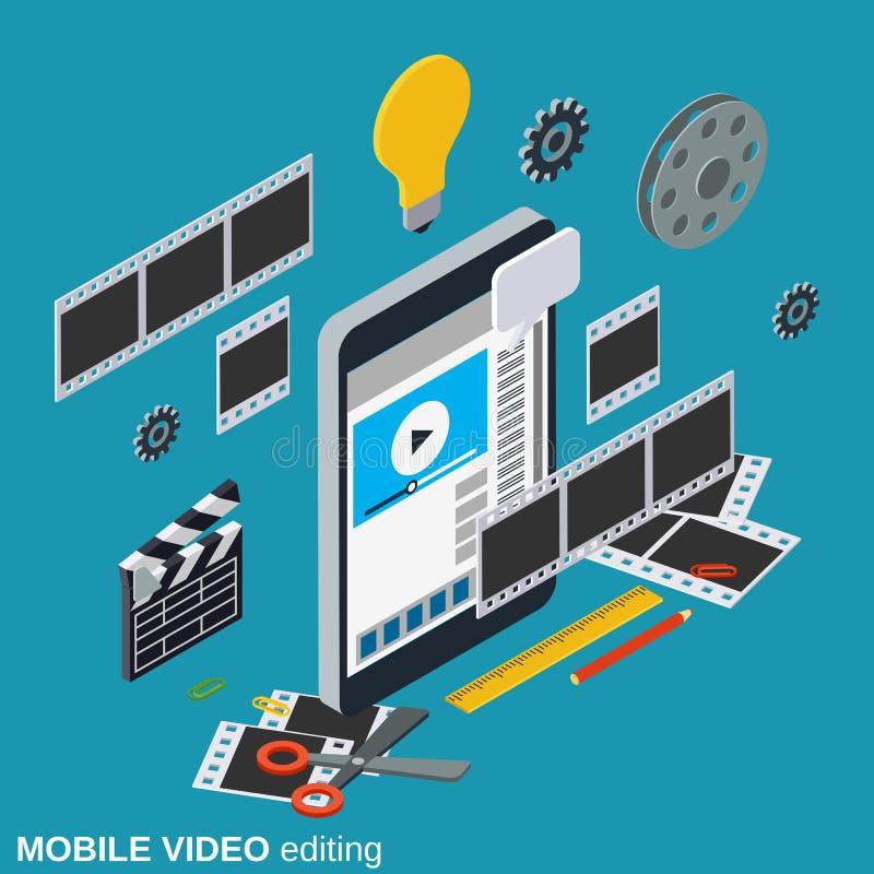 Producción video móvil, corrigiendo, concepto del vector del montaje libre illustration