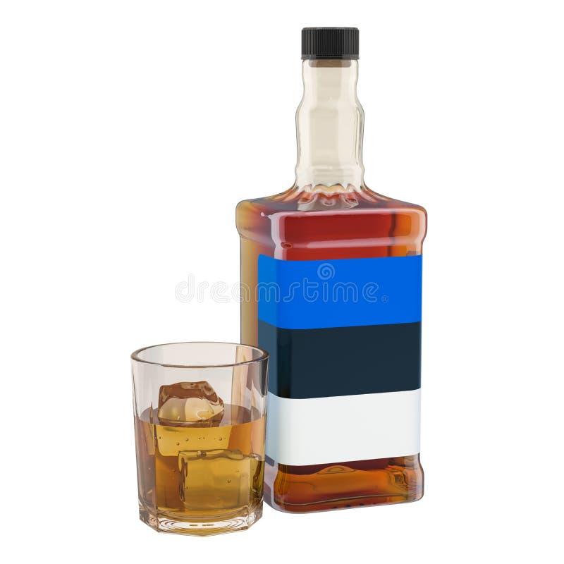 Producción y consumo de bebidas en Estonia, concepto del alcohol representaci?n 3d ilustración del vector