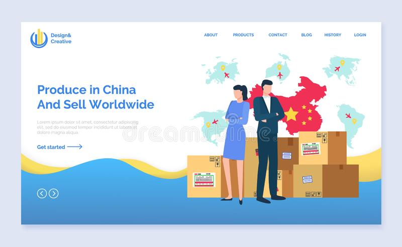 Produce in China and Sell Worldwide Website Text. Produce in China and sell worldwide vector, people standing by packages, business partners working on common stock illustration