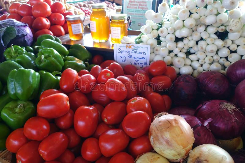 Produce on Display at an Outdoor Farmers` Market. Produce on Display at the North Carolina State Farmer`s Market in Raleigh, North Carolina royalty free stock photo