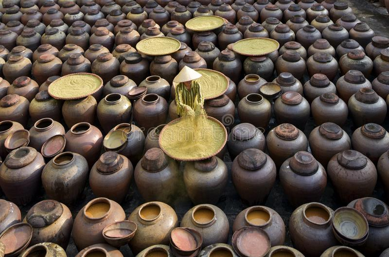 Produce soy sauce in tradition village at Hungyen province, Vietnam, this is a handicraft part 28. Produce soy sauce in tradition village at Hungyen province royalty free stock photo
