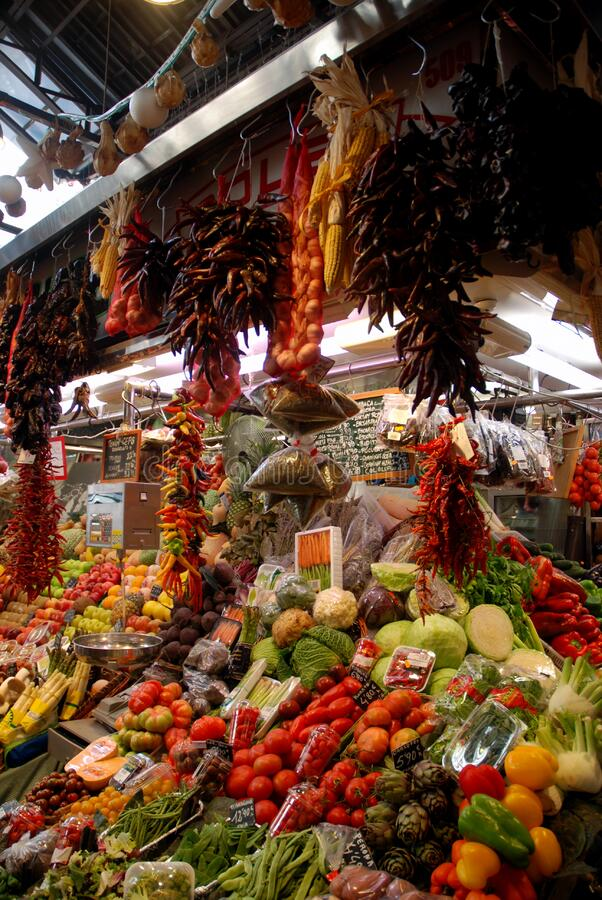 Produce stand, Barcelona, Spain stock images