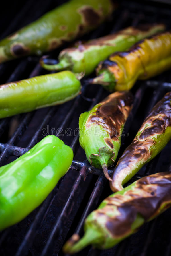 Produce - Summer _ Roasting Hatch Green Chilie royalty free stock photo
