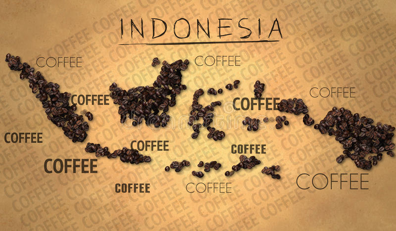 Producent för böna för Indonesien översiktskaffe på gammalt papper stock illustrationer