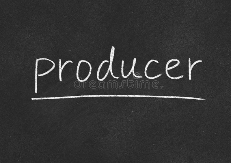 Producer. Concept word on blackboard background stock photos