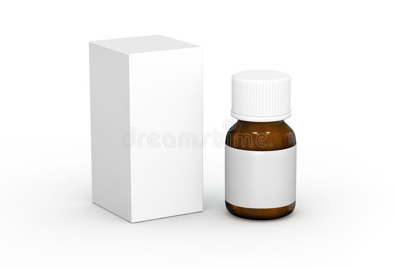 Product box and Pharmaceutical bottle. For advertising vector illustration