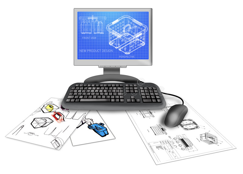 Product CAD design on computer. Illustration of a 3d model of a product design on a computer monitor with drawings and blueprint plans isolated on white royalty free illustration