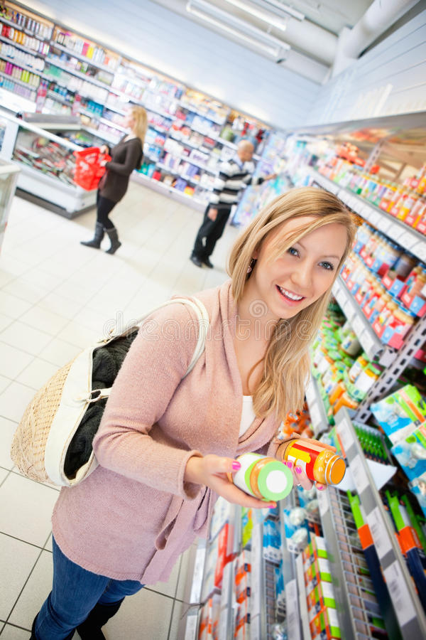 Product Comparison Grocery Store stock image