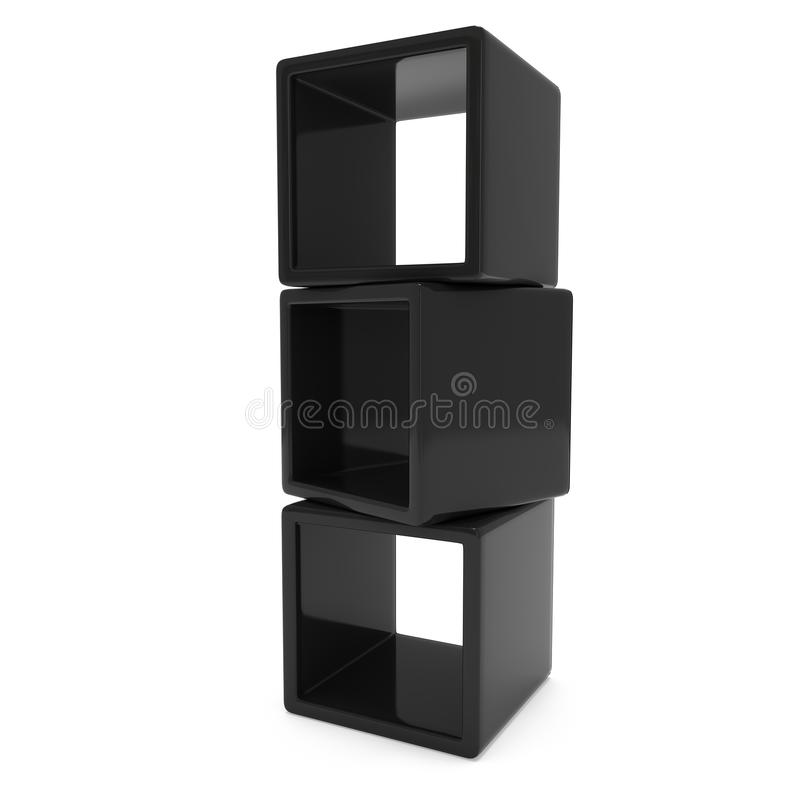 Product display boxes 3D. Product display black boxes. 3D render isolated on white. Platform or Stand Illustration. Template for Object Presentation stock illustration