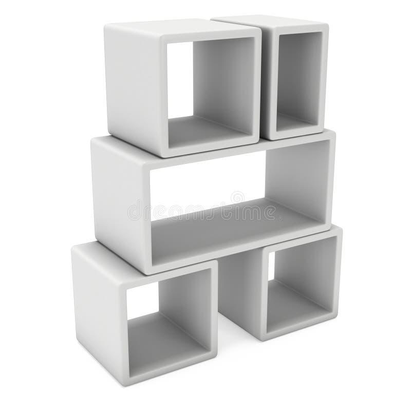 Product display boxes 3D. Product display boxes. 3D render isolated on white. Platform or Stand Illustration. Template for Object Presentation vector illustration