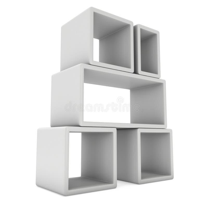 Product display boxes 3D. Product display boxes. 3D render isolated on white. Platform or Stand Illustration. Template for Object Presentation stock illustration