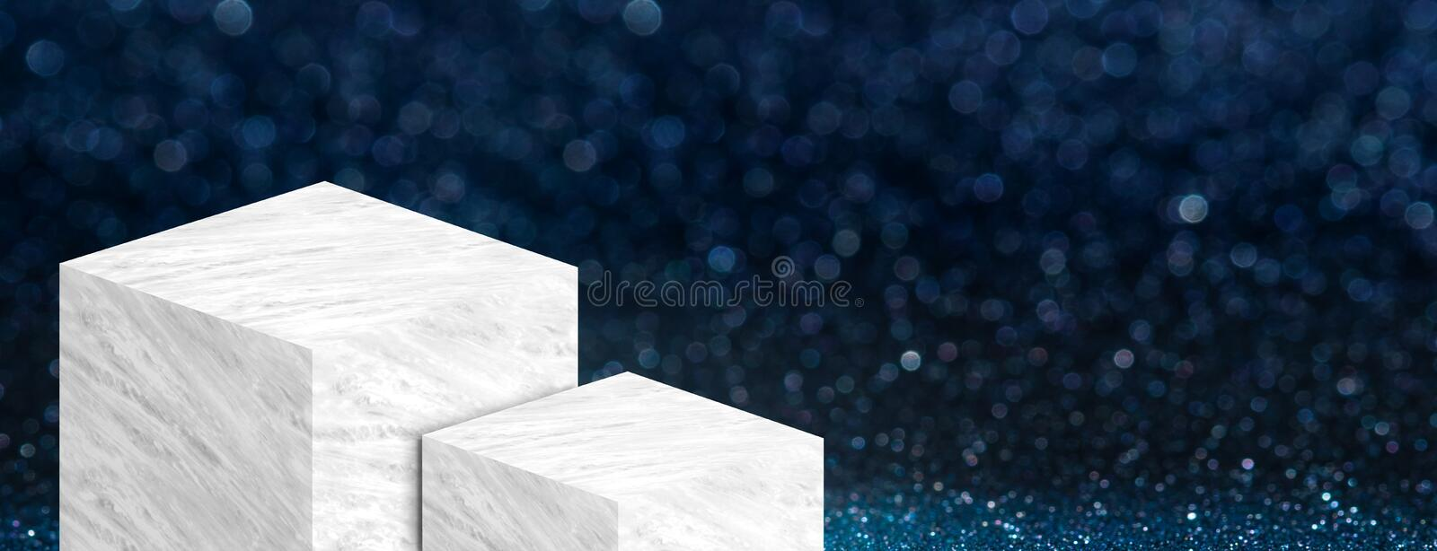 Product display stand made from white glossy marble in two step on dark blue bokeh sparkle background have copy space for display. Of content or design,Banner stock illustration