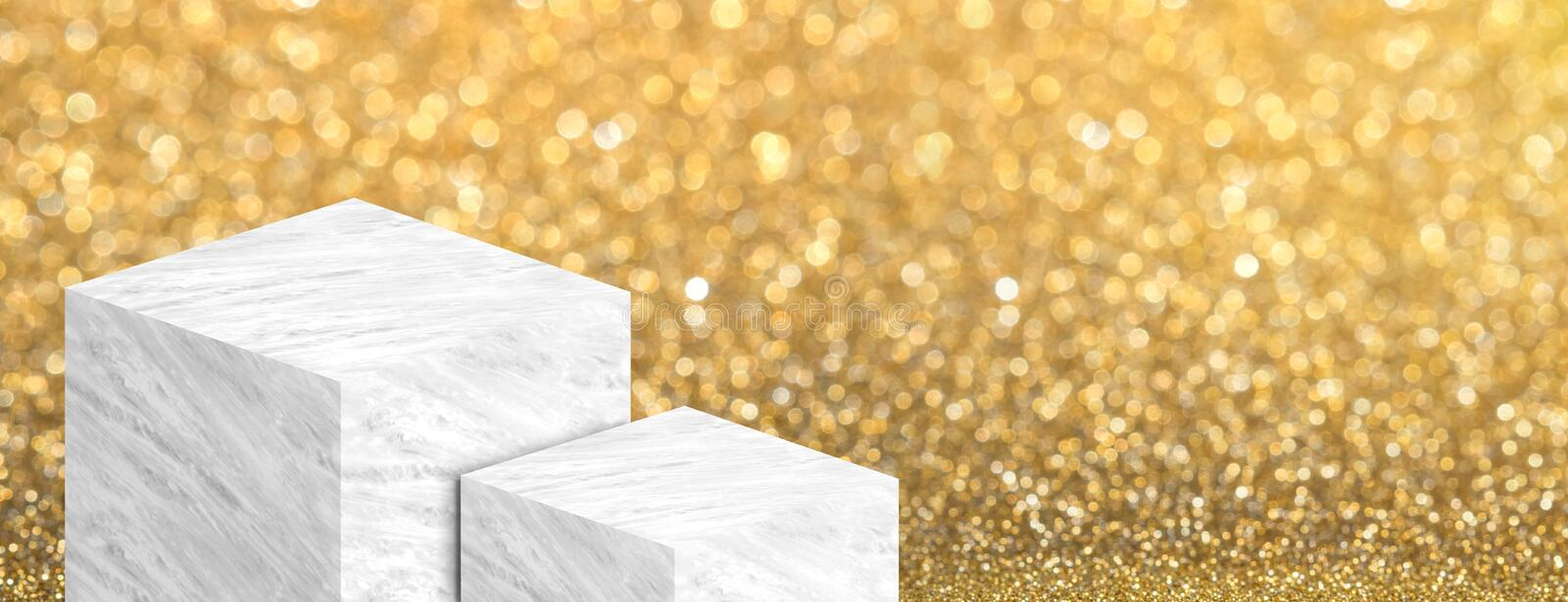 Product display stand made from white glossy marble in two step on gold bokeh sparkle background have copy space for display of. Content or design,Banner for royalty free illustration