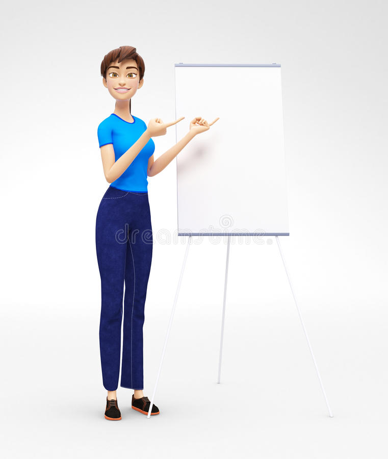 Product Flip-Chart Mockup and Blank Board with Smiling Jenny - 3D Cartoon Female Character in Casual Clothes. 3D Rendered Product Mockup with Animated Character
