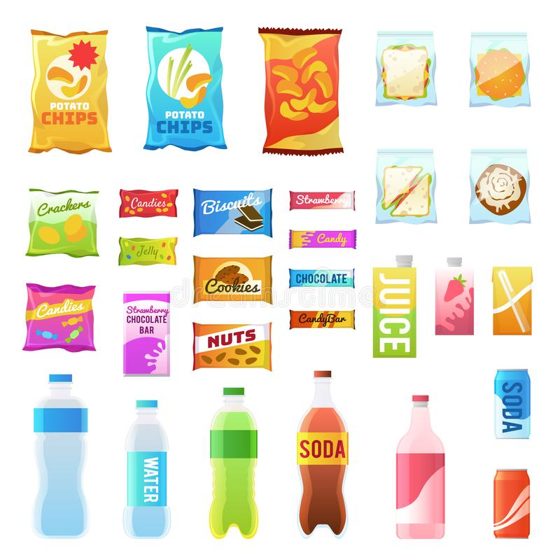 Free Product For Vending. Tasty Snacks Sandwich Biscuit Candy Chocolate Drinks Juice Beverages Pack Retail, Set Flat Vector Stock Photography - 151957482