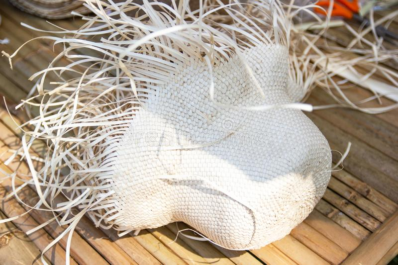 Product Hat by Handmade form The leaves of the courtyard. With Durable is different from wicker from other plants Product of Thailand stock illustration