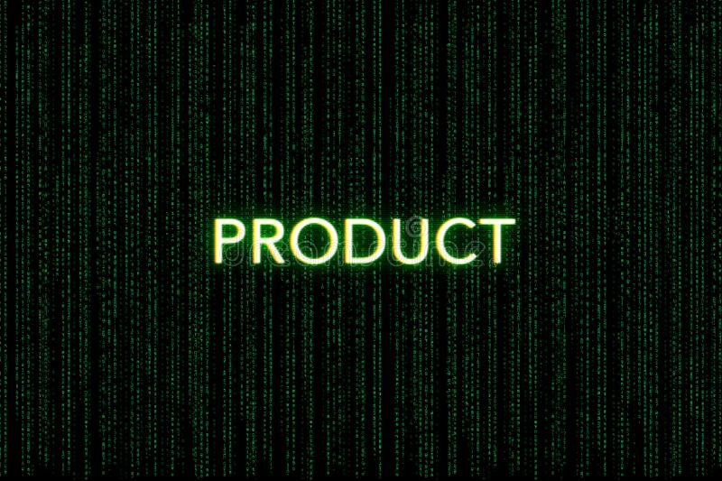 Product, keyword of scrum, on a green matrix background royalty free stock photos