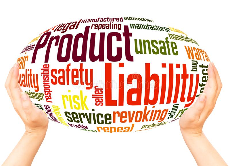 Product Liability word cloud hand sphere concept. On white background stock photos