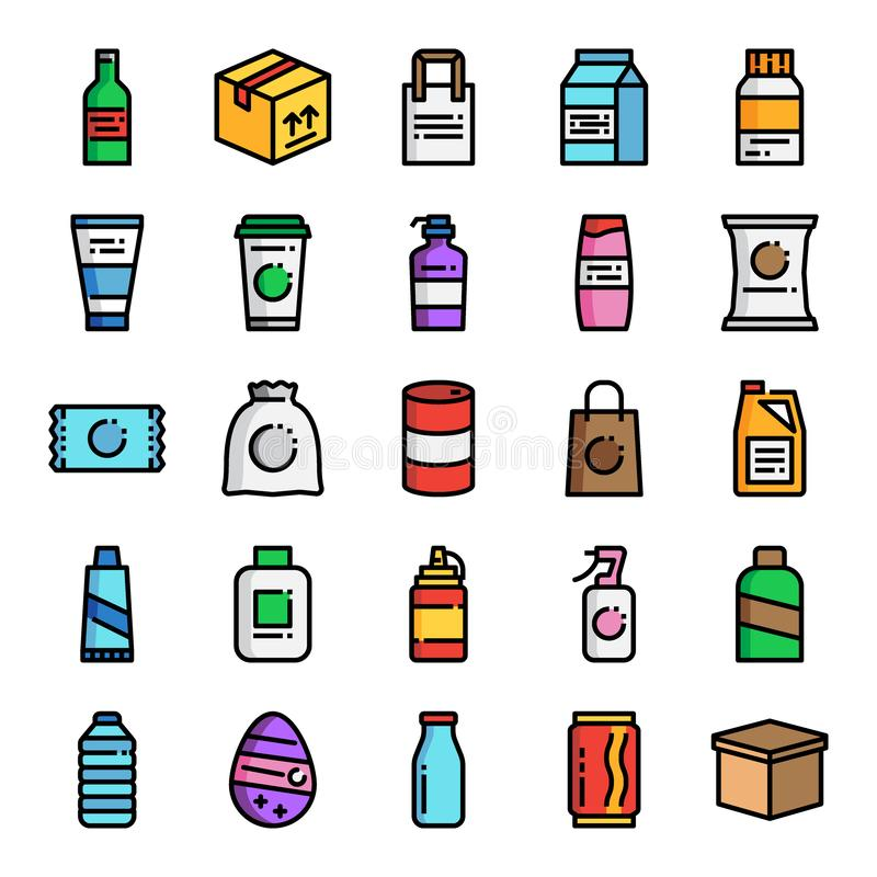 Product packaging pixel perfect color line icons vector illustration